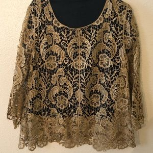 ADiva Plus size gold crocheted lace top